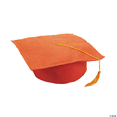 Orange Felt Graduation Caps