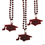 #1 Grad Maroon Mortarboard Bead Necklaces