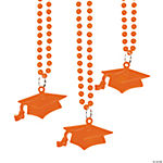 #1 Grad Orange Mortarboard Bead Necklaces