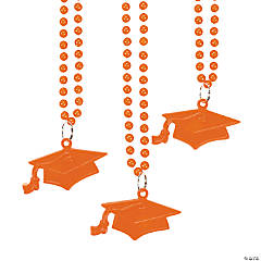 Orange #1 Grad Mortar Board Bead Necklaces