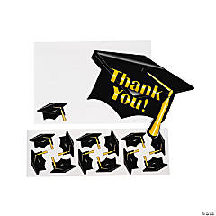 "Black Graduation ""Thank You"" Cards"