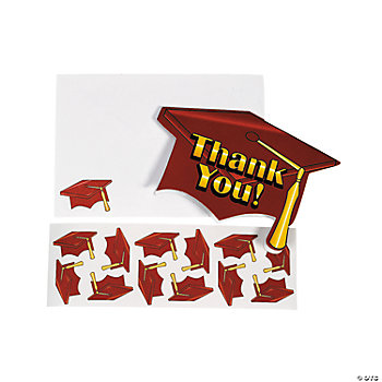 "Red Graduation ""Thank You"" Cards"
