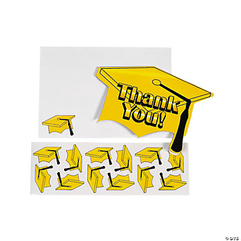 "Yellow Graduation ""Thank You"" Cards"