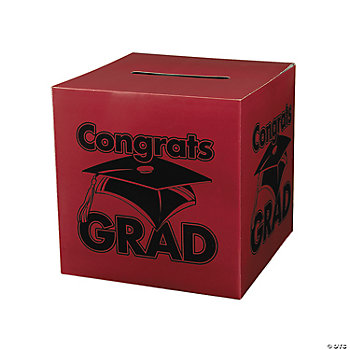 """Congrats Grad"" Burgundy Card Box"