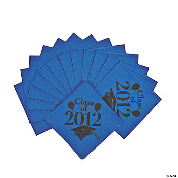 """Class Of 2012"" Beverage Napkins - Blue"