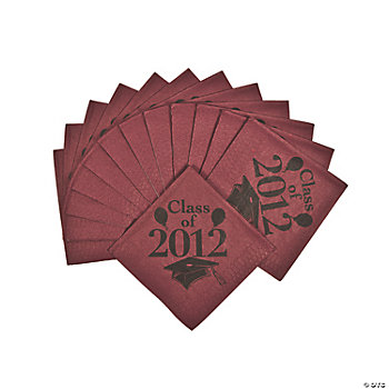 """Class Of 2012"" Beverage Napkins - Burgundy"