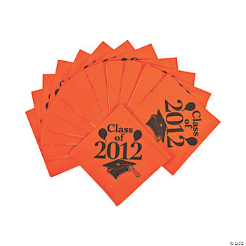 """Class Of 2012"" Beverage Napkins - Orange"