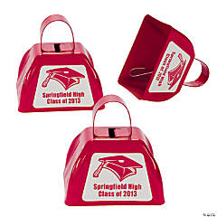Personalized Red Graduation Cowbells