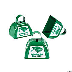Personalized Green Graduation Cowbells