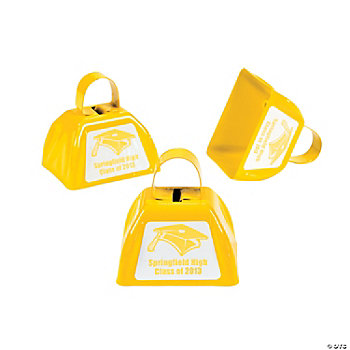 Personalized Yellow Graduation Cowbells