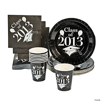 """Class Of 2013"" Black Tableware Set"