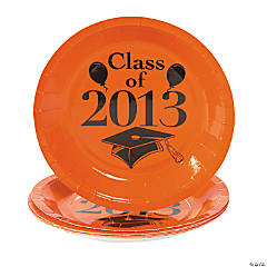 """Class Of 2013"" Orange Dessert Plates"