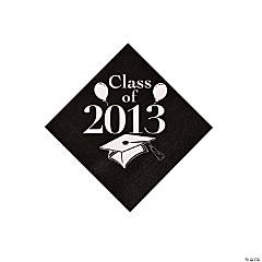 """Class Of 2013"" Black Beverage Napkins"