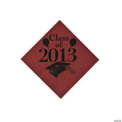 """Class Of 2013"" Burgundy Beverage Napkins"