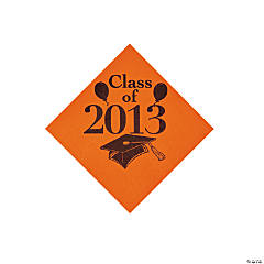 """Class Of 2013"" Orange Beverage Napkins"