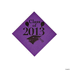 """Class Of 2013"" Purple Beverage Napkins"