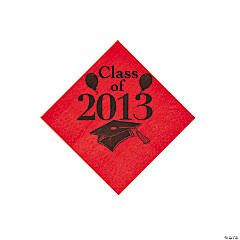 """Class Of 2013"" Red Beverage Napkins"