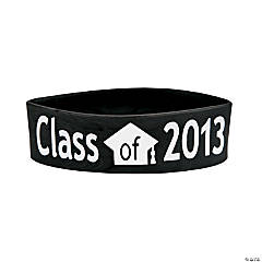 "Black ""Class Of 2013"" Graduation Big Band Bracelets"