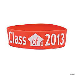 "Red ""Class Of 2013"" Graduation Big Band Bracelets"