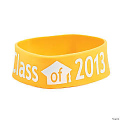 "Yellow ""Class Of 2013"" Graduation Big Band Bracelets"