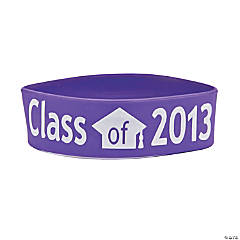 "Purple ""Class Of 2013"" Graduation Big Band Bracelets"