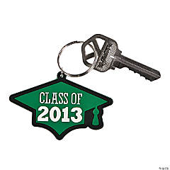 """Class Of 2013"" Green Key Chains"