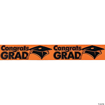"""Congrats Grad"" Orange Streamers"