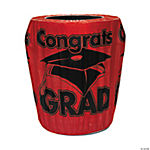 "Red ""Congrats Grad"" Trash Can Cover"