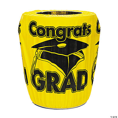 "Yellow ""Congrats Grad"" Trash Can Cover"