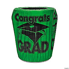 Green Congrats Grad Trash Can Cover