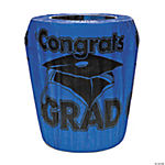 "Blue ""Congrats Grad"" Trash Can Cover"