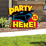 """Party Is Here"" Mortar Board Yard Sign"