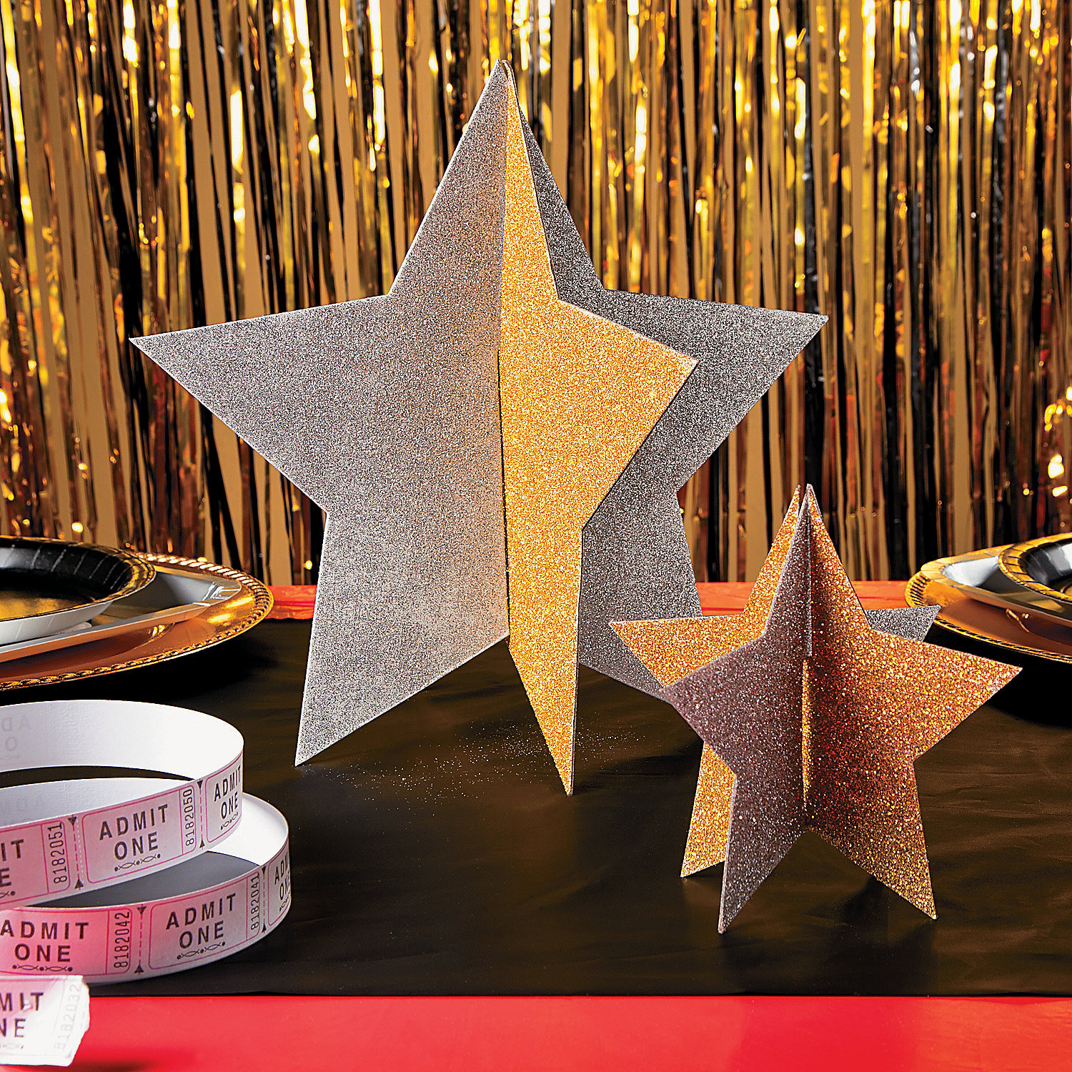 Gold silver star centerpieces party
