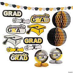Black, Gold & Silver Graduation Decorating Kit