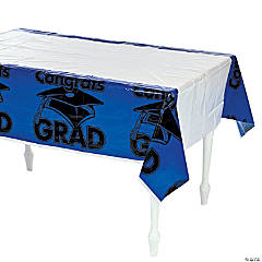 "Blue ""Congrats Grad"" Tablecloth"