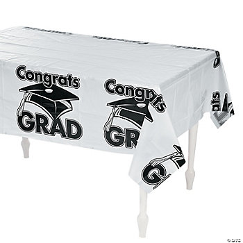 "White ""Congrats Grad"" Table Cover"