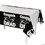 "Black ""Congrats Grad"" Tablecloth"