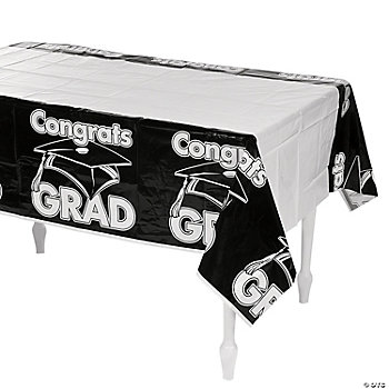 "Black ""Congrats Grad"" Table Cover"
