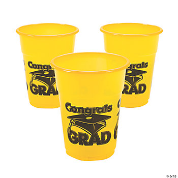 "Yellow ""Congrats Grad"" Disposable Cups"