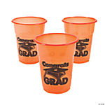 "Orange ""Congrats Grad"" Disposable Cups"