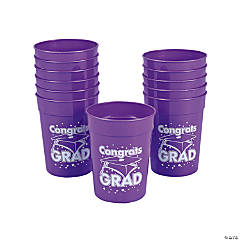 "Purple ""Congrats Grad"" Cups"