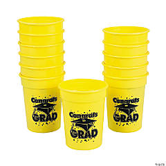 Yellow Congrats Grad Cups