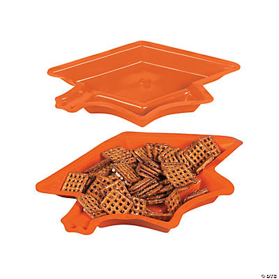 Graduation Cap Serving Dishes - Orange