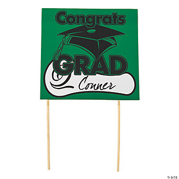 "Green ""Congrats Grad"" Yard Signs"