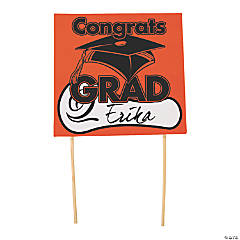 "Orange ""Congrats Grad"" Yard Sign"