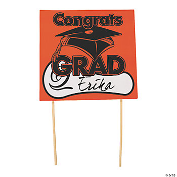 "Orange ""Congrats Grad"" Yard Signs"