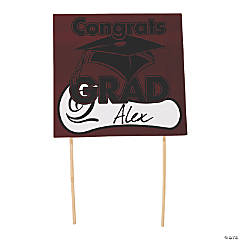"Burgundy ""Congrats Grad"" Yard Signs"