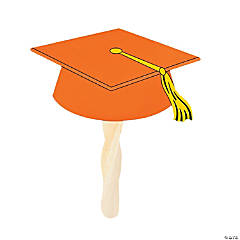 Orange Graduation Cap Fans