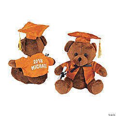 Personalized Plush Graduation Bear - Orange