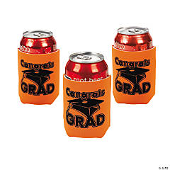 """Congrats Grad"" Orange Can Covers"
